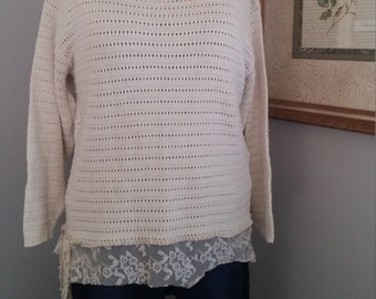 Upcycled boho sweater top..M-L..urban gypsy top,shabby chic top..junk gypsy style..free people style..anthropologie look..boho upcycle