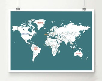 World Map Poster, World Map Wall Art, Travel Map, Nursery Wall Art, World Map Print, Wedding Guest Book, World Map for Kids, Turquoise Map