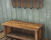 Reclaimed Barnwood Bench & Shelf Set