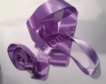 Sumptuous, heavy silk satin lavender ribbon, 4 yards