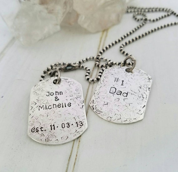 Sterling Silver Dog Tags, Personalized mens necklace, Fathers day gift, Custom Fathers necklace, Personalized dog tags, Double sided dog tag