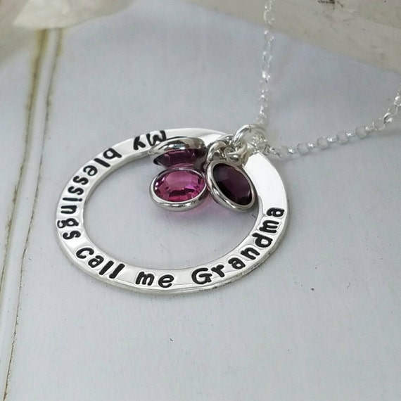 My Blessings Call Me Grandma, Sterling silver, Personalized Grandmother necklace, 3 stone necklace, Custom Nana Necklace, Birthstone jewelry