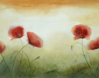 Original Painting Floral Poppy Painting, Small Watercolor Painting Poppies, Original Watercolor Art Red Poppy Flower, 30 cm x 21 cm