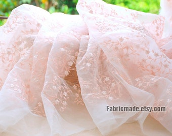 Flower Organza Lace Fabric, Embroidered Lace Fabric, Nude Pink Flower Embroidery Fabric - 1/2 yard Lace