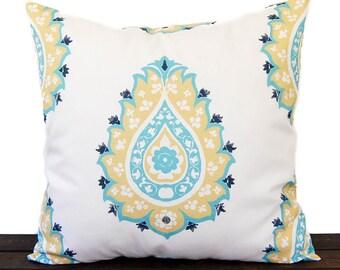 Throw pillow cover Coastal Blue Saffron Yellow white cushion cover Damask traditional contemporary modern home decor