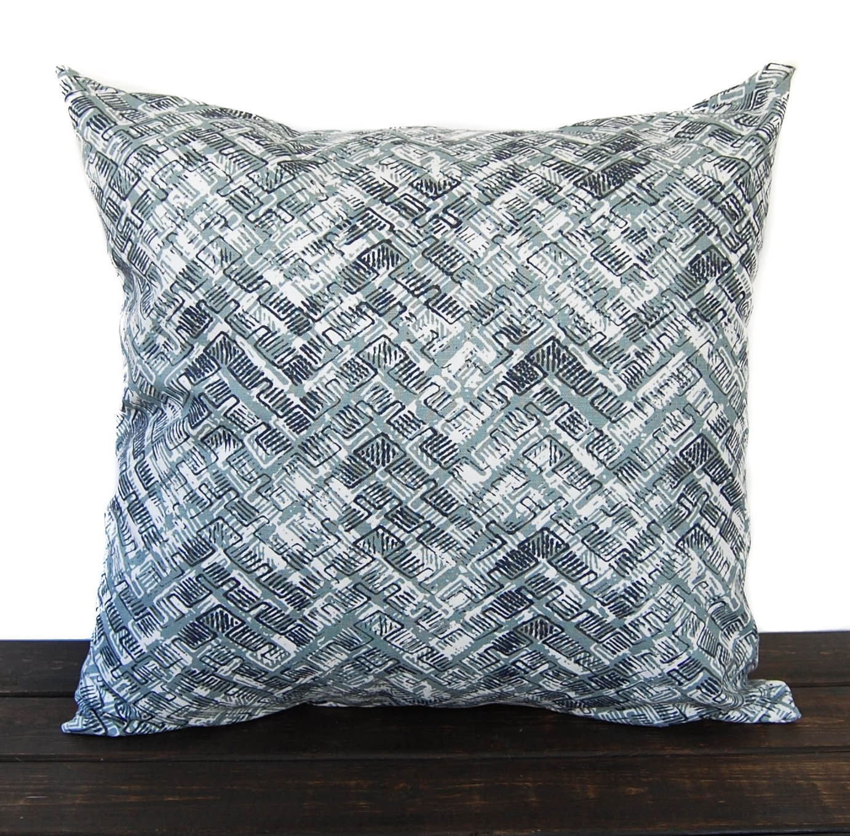 Decorative Pillows Indigo : Throw pillow cover Vintage Indigo navy light blue gray white