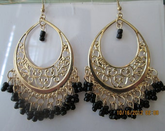 Gold Tone Chandelier Earrings with Black Bead Dangles