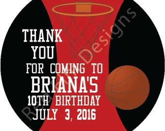 "Basketball Stickers - 20 per sheet - 2"" round.  Basketball Birthday Party Favors.  2 Inch Round Basketball Stickers"