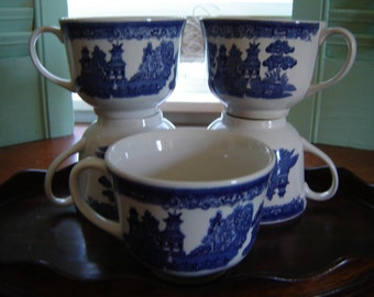 Vintage blue and white teacups coffee cups made in England Willow Ware cups kitchen serving and dining 5 pc set