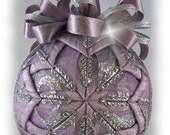 Lavendar and Silver Glitter Unique Handmade Keepsake Quilted Christmas Ornament