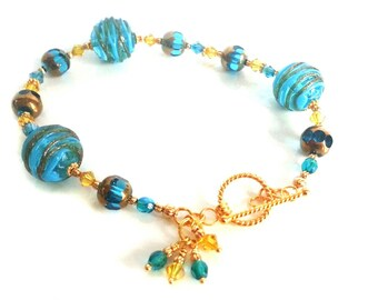Teal and Gold Lampwork Bead Bracelet and matching earring set with Vermeil Gold clasp and earwires