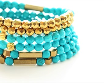 Faceted Sinkiang Turquoise Gemstones and Brass Beaded Bracelets