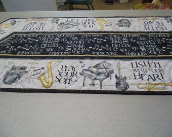 Extra-Large Black, White and Gold Music-Themed Quilted Table Runner