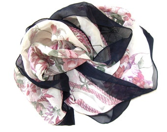 """Vintage sheer floral silk scarf, Hiroko for Norstrom's, 35"""" x 35"""", handrolled hem, plum, and green, Woman's Accessory, gift idea"""