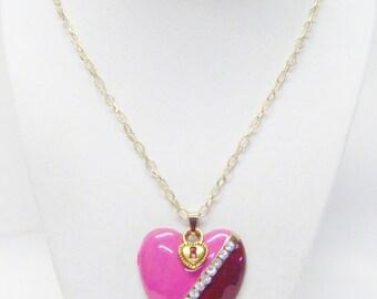 Light & Dark Fuchsia w/Rhinestone Heart Pendant Necklace