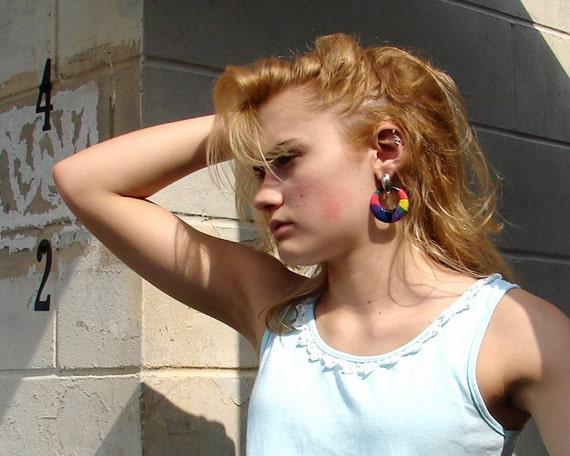 large hoop earrings vintage 80s statement earrings colorful tribal earrings hip hop summer earrings bright block new wave totally 80s hoops