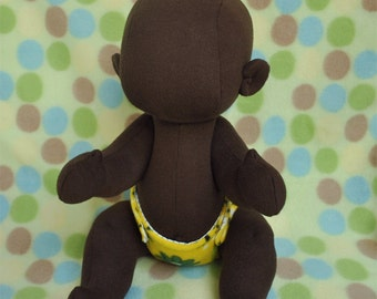 "Fretta's  Blank Baby: 16"" BeBe Cheeks Doll. Dark Skin Cute Baby. Jointed 40.5 cm /16"" Soft Sculpture Doll. Child Friendly Baby Doll."