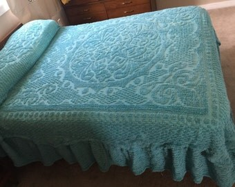 Vintage Turquoise Chenille Bedspread  Full