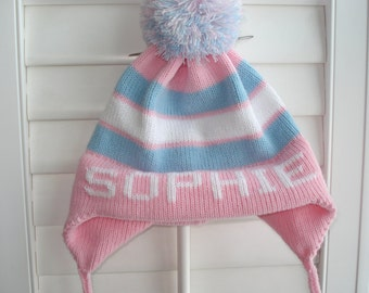 Personalized knit child's hat - SOPHIE