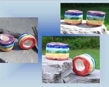 2 Large Hole Dreadlock Beads, Rainbow Dread Beads, LGBT Hair Accessories, Chakra Beads,  Macrame Beads, Ceramic Pottery , Macrame Supplies
