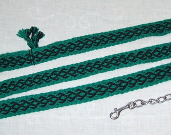 Tablet woven, 100% wool, 6 ft. 9 in. long dog, cat, or livestock leash with swiveled clip - free shipping in U.S.