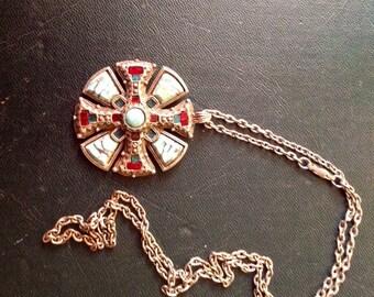 Vintage Signed Miracle Celtic Shield Design Necklace /Pendant /1970-s