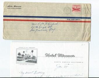 Vtg Hotel Miramar Santa Monica California Stationery Letter w/Hard to Find Air Mail Envelope Nice Letter Wonderful Look at Hotel Sketch