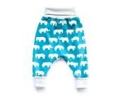 Organic harem pants baby, baby boy elephant harem pants, organic jersey harem pants, grow with me pants