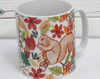 Squirrels Illustrated Mug