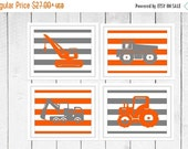 ONSALE Nursery Decor - Construction - Trucks  -  4 Piece Set  -  Nursery Decor - Choose Your Colors