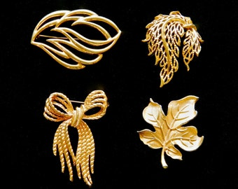 4 Vintage Brooch Pins Trifari Monet Gold Tone Leaves Flame Wave Bow Angel Fashion