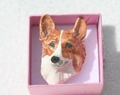 FREE SHIPPING Unusual Vintage Pottery Corgi Dog Brooch