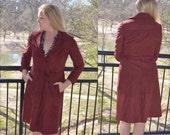 Women's Winter Coat, Burgundy Coat, Vintage Jacket, Ladies' Long Coat, Maroon Women's Coat, Long Pea Coat, Women's Overcoat, Size M