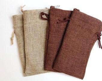 "24pcs-Asst ~Natural & Dark Burlap Organza bags -3x5"" w/Drawstring, Vintage Gift Bags, Wedding Favor Sacks, Party Gift Bags, Jute Party Bags"