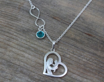 New mom Necklace,  Mother and child infinity  Necklace, Love Symbol Personalized Charms. Baby Shower gift. Mom to be