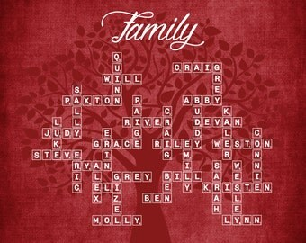 Personalized Modern Family Tree  (Scrabble Tiles) Digital Delivery