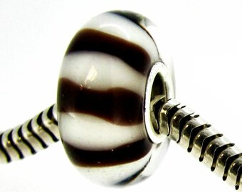 Glass & Sterling Silver Large Hole Beads for European Style Bracelets, Lampwork Large Hole Beads, Large Hole Glass Beads, European Charms