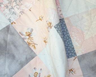 Lap quilt, peach, gray, flowers