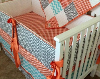 Custom Grey Mustache Aqua Chevron Orange Quatrefoil Crib Set