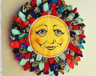 Summer Sun fabric Art Handmade Wall Hanging - Friendly Smiling Sun Bohemian Recycled Fabric Mandala - Eco Friendly FUN