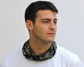 Mans collection Boho Scarf Necklace - Black scarf wrap - Circle Scarf - gift for him