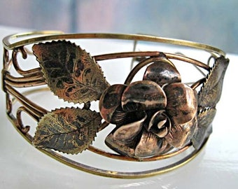 Rose Blossom Leaves Bracelet, Brass and Goldfilled, Oxidized Floral Cuff Sculpture, 1950s Rustic Art