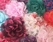 Grab Bag Lace Flowers - Fabric Flowers - Solids and Prints - Frayed Vintage Shabby Chic Flower - Wholesale Chiffon Flowers - DIY Headbands