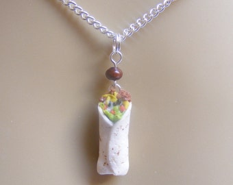 Food Jewelry Burrito Pendant, Burrito Necklace, Buritto Charm, Miniature Food,  Mini Food Jewellery, Polymer Clay Food,  Mexican Food Kawaii