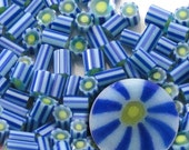 SALE!! BIGGIES! Blue Burst.....Handmade Murrini Chips 5-7mm ...Millefiori Slices sky blue starburst summer COE 104....Beatlebaby Supply