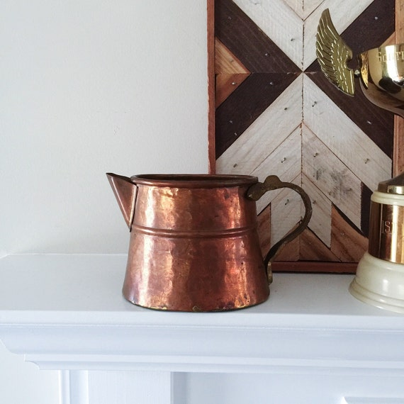 Vintage french copper and brass pitcher kitchen home decor use for Brass home decor