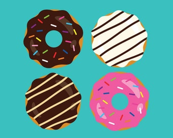Donuts & Coffee Clip Art Set | Dessert Breakfast Diner Food Yummy Graphics | Digital Illustration Stock Icons | Personal Commercial Use