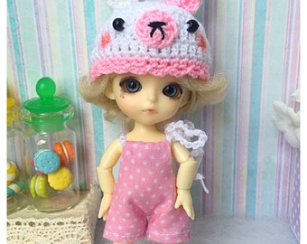 """Lati White Outfit : """"Pink Bunny Set"""" (Dress and Crochet hat)"""