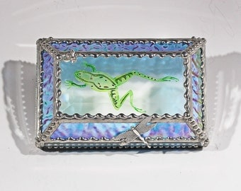 Frog Carved Hand Painted Glass Jewelry Box - Treasure Box