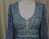 Vintage... GunneSax... Long Blue floral voile dress....size 9...